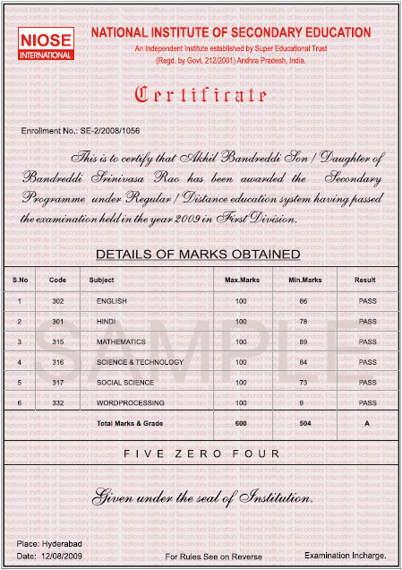 National institute of secondary education secondary certificate yadclub Images