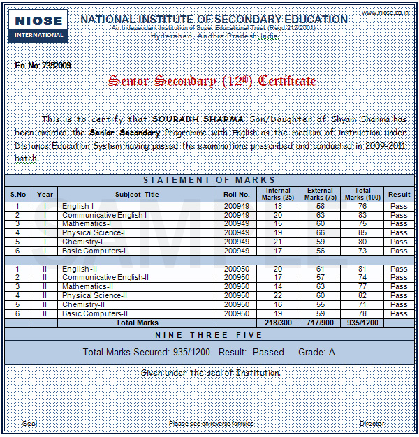 National institute of secondary education senior secondary sample certificate yadclub Images